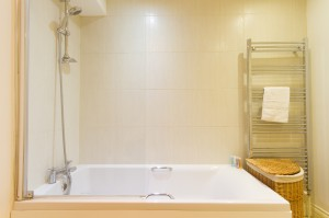 Bathroom in furnished apartment