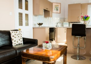 Open plan living space of this serviced apartment