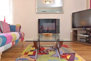 Lovely flame-effect fire in this serviced flat