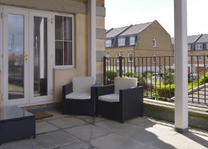 Patio of this serviced flat